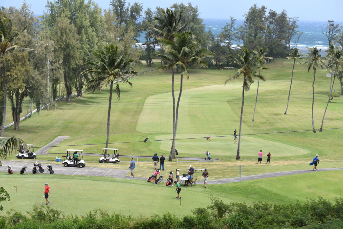 Waiehu Municipal Golf Course's first tee and ninth green were busy places Saturday. • The Maui News / MATTHEW THAYER photo