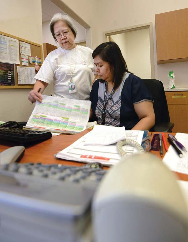 "Maui Memorial Medical Center charge registered nurse Penny Pacubus (left) and staffing clerk Marliz DeLeon meet Friday afternoon to see who they can call in to work to cover nurses who have called in sick. They said that the meeting was a ""regular task"" that is done before the beginning of each of the day's three shifts. Kaiser Permanente officials are encouraging island residents to apply for jobs at Maui Memorial, Kula and Lanai Community hospitals. -- The Maui News / MATTHEW THAYER photo"