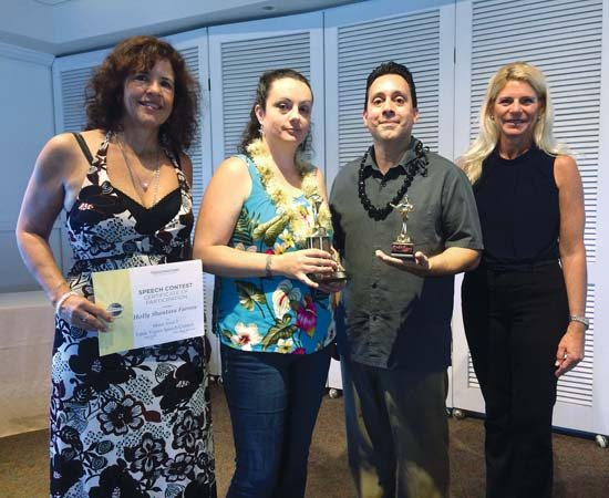 Toastmasters Holly Santara Farrow (left), Sarah Hambek, Danny Macia and Kimberly Parker were the top contestants in the Maui Area Speech Contests. They advanced to the state contests on Oahu on Saturday.