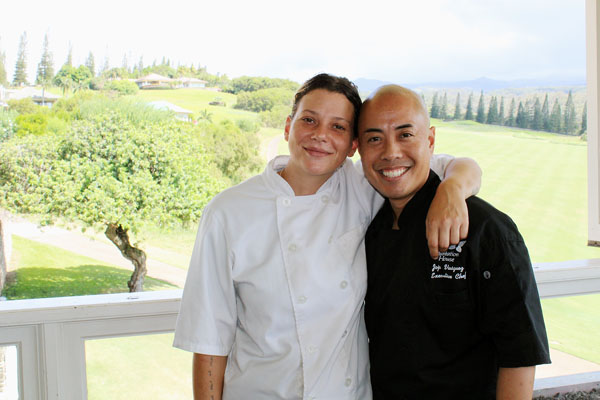 New Chef de Cuisine Maggie King hugs longtime Executive Chef Jojo Vasquez. The Maui News / CARLA TRACY photo