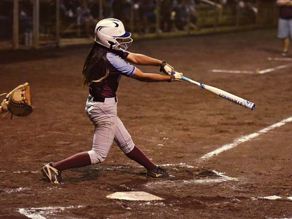 Baldwin's Mikayla Tsutsui follows through on a two-run, first-inning double Thursday. The Maui News / MATTHEW THAYER photo