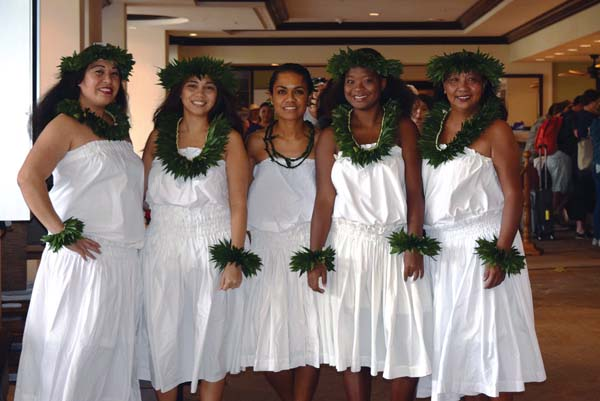 Participating in May Day festivities on Monday will be Westin's Kafa Grijalva (from left), Corienne Keanini, Melissa Los Banos, Jasmine McCoy and Gresilda Harrison. Westin Maui Resort & Spa photo