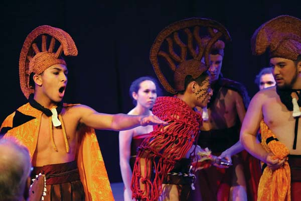 "The student cast of Kamehameha Schools Hawaii's production of the Hawaiian-language opera  ""Ha'upu"" at the MACC. Photo courtesy Kamehameha Schools Hawaii"