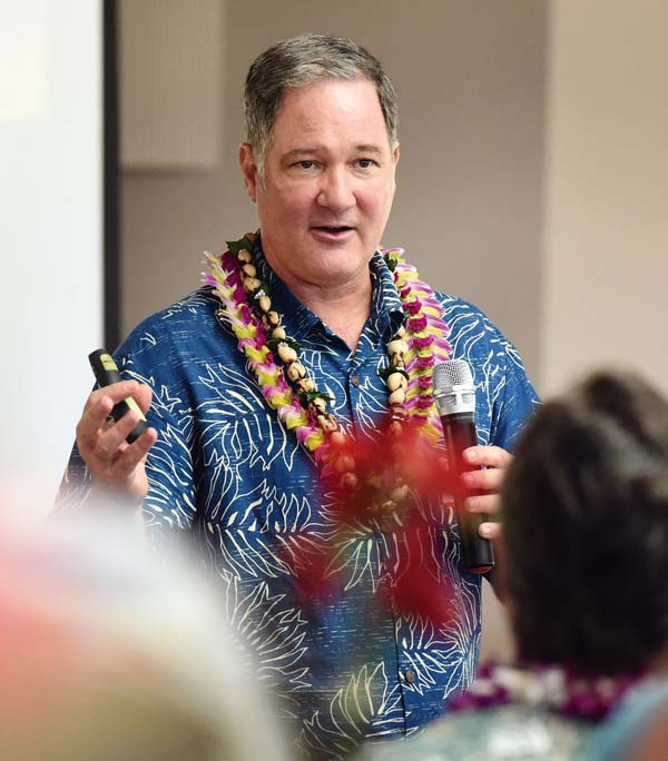 Carl Bonham of the University of Hawaii Economic Research Organization delivers an update Wednesday on how the closure of Hawaiian Commercial & Sugar has affected the labor market. He said unemployment on Maui remains low and the labor force appears to have absorbed the more than 600 workers who lost their jobs. However, he noted that the new jobs likely pay less and questioned the statistical collection of data. The Maui News / MATTHEW THAYER photo