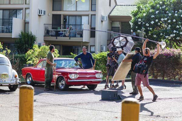 "Moronai Kanekoa (left) and Vene Chun shoot a scene in ""Kuleana."" Kanekoa, the film's protagonist, is a Maui High School graduate and grew up in Kahului. -- JACK GRACE photo"