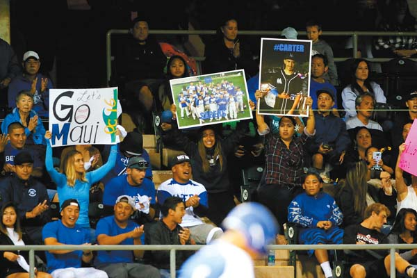 Maui High fans cheer from the Les Murakami Stadium stands during the game. @AndrewLeeHI / ANDREW LEE photo
