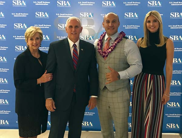 U.S. Small Business Administration administrator Linda McMahon (from left), Vice President Mike Pence, Maui Brewing Co. owner Garrett Marrero and first daughter Ivanka Trump pose for photos after Marrero and his wife, Melanie Oxley (not pictured), were named the 2017 National Small Business Persons of the Year on Monday in Washington, D.C. Photo courtesy Garrett Marrero