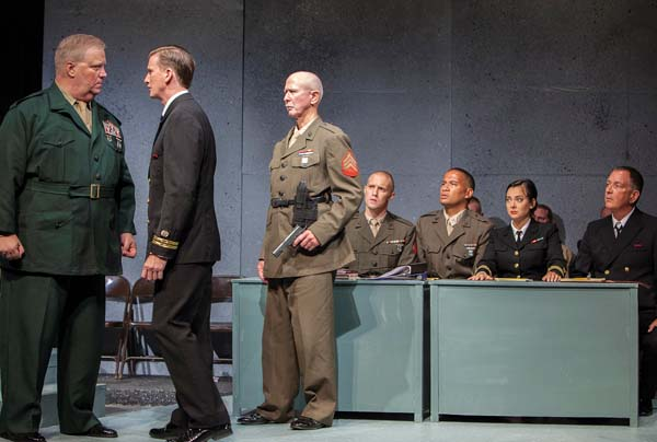"Robert E. Wills (from left) Ricky Jones, Cameron Keys, David Tuttle, Rueben Carrion, Megan Caccamo and Neil Sullivan bring the drama of Aaron Sorkin's ""A Few Good Men"" to Maui. Jack Grace photo"
