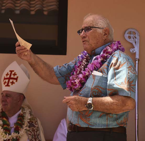 Rep. Joe  Souki speaks at the dedication ceremony for Heritage Hall, which honors the cultures of Portugal and Puerto Rico, in Paia on June 3. The former speaker of the state House reflected on his resignation Thursday after it became apparent that he did not have the votes to continue in the post. -- The Maui News / MATTHEW THAYER photo
