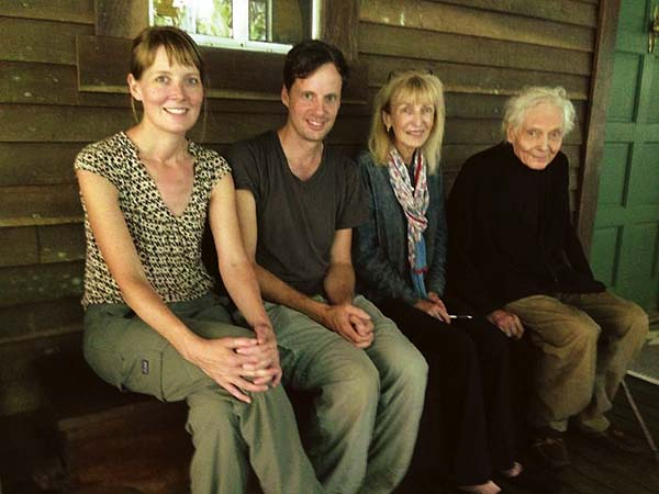Susannah Sayler (from left) and Ed Morris sit with Paula and W.S. Merwin in August at the Peahi home of the renowned poet and his wife. Sayler and Morris created an exhibit for the American Writers Museum in Chicago that features Merwin's poetry and his palm forest. -- The Merwin Conservancy photo