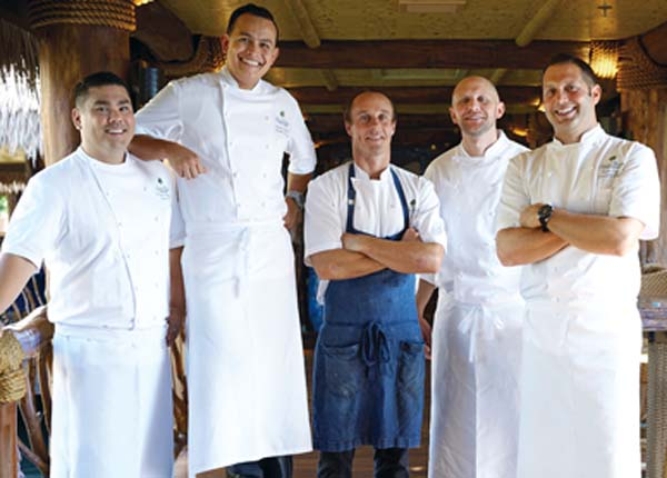 Executive Pastry Chef Christian Brassfield (from left),  Executive Sous Chef Jorge Gonzalez, Humuhumunukunukuapua'a Chef de Cuisine Mike Lofaro, Molokini Bistro Chef de Cuisine Adam Rzeczkowski and Executive Chef Ryan Urig are culinarians who are constantly on the go. -- Grand Wailea photo