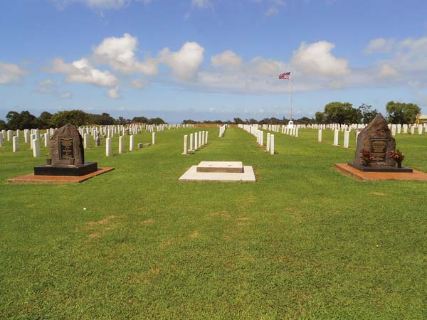The World War II Veterans Memorial will soon sit in between the Korean War Memorial (left) and the World War I Memorial at Maui Veterans Cemetery in Makawao. The dedication of the World War II Veterans Memorial will be held at 8:30 a.m. May 29.