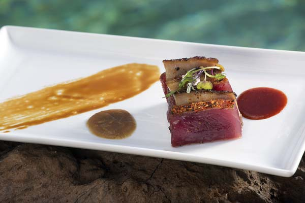 Pork and ahi with fun sauces on the side. Westin Nanea Ocean Villas photo
