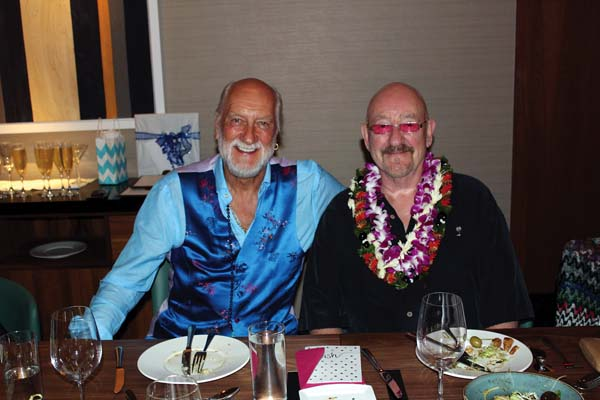 "Maui's famous drummer Mick Fleetwood (at left) and singer songwriter Dave Mason celebrate the 71st birthday of Mason last week in Humble Market Kitchin by Roy Yamaguchi in Wailea. The old pals were ""Feelin' Alright."" CARLA TRACY photo"