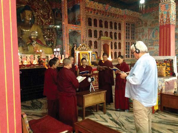 """Keola Beamer (right) with Nepalese nuns in Kathmandu. He joins Tom Vendetti at the screening of """"Tibetan Illusion Destroyer 3D Film and Concert"""" Saturday at the MACC. Tom Vendetti photo"""