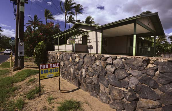 Online real estate sites show this three-bedroom home at 349 S. Kihei Road listed at $749,000, or $7,000 below March's median price of $756,000. Maui ranks No. 5 out of the 20 least affordable housing markets in the nation, according to a recent listing in Forbes magazine that used data from RealtyTrac for the first quarter of this year. The Maui News / MATTHEW THAYER photo