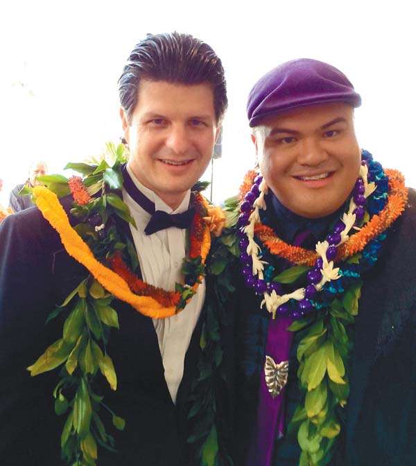 Jeff Peterson (left) and Kalani Pe'a pose for a photo during Saturday's Na Hoku Hanohano Awards ceremony Saturday on Oahu. The two performed together on stage during the ceremony and both brought home awards — Instrumental Album of the Year for Peterson and Contemporary Album of the Year for Pe'a. Photo courtesy of Jeff Peterson