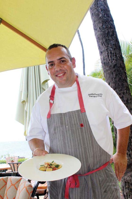 Ferraro's new Chef de Cuisine Justin Purpura showcases his signature rigatoni and Italian sausage with fennel, piperade, broccolini, pecorino fondue and garlic crumb; branzino is flown in whole from the Mediterranean; oceanfront seating is romantic. The Maui News/CARLA TRACY photo