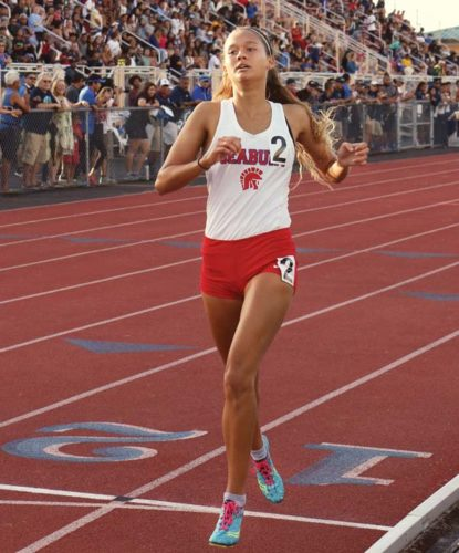 Seabury Hall's Ava Shipman competes in the 1,500 meters at the state meet on May 13 — she won that race, and also claimed titles in the 800 and 3,000. Hawaii Tribune-Herald/Tim Wright photo