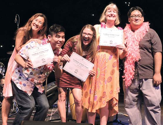 Rae Takemoto (from left), Jayden Isobe, Kate Welch, Renee Romerdahl and MACC Education Director Chadwick Pang are shown at the Teacher Awards Dinner April 20 at the Maui Arts & Cultural Center.