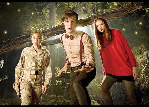 """In a previous season of BBC's """"Doctor Who,"""" Karen Gillan (in red) stars with Alex Kingston and Matt Smith. -- Photo courtesy IMDB"""