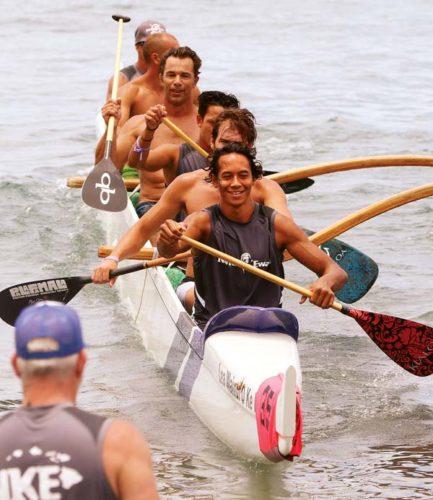 Na Kai Ewalu's men's novice B crew of (from front) Kekaialoha Han-Krael, Ryan Cook, Keli'i Krael, Mark Leuffgen, Bryan Bajaj and Sparky Reyna returns to shore after a win in Saturday's Dougie Tihada Regatta at Hanakao'o (Canoe) Beach Park. -- The Maui News / CHRIS SUGIDONO photo
