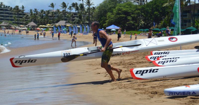 John Flanagan, the men's 40-44 runner-up, begins the final leg of the paddleboard-swim-surfski race during the Maui Jim Ocean Shootout on Sunday. •The Maui News / BRAD SHERMAN photo