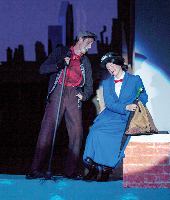 "Chris Kepler (left) with Sara Jelley in ""Mary Poppins"" • Jack Grace photo"
