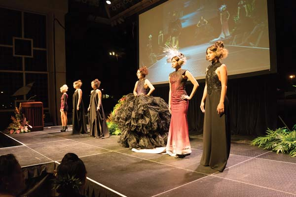 Designer Koa Johnson's eye-catching collection from last year's MAMo show is modeled on the stage. He returns this year along with other Native Hawaiian clothing and jewelry designers. BENFERRARI photo