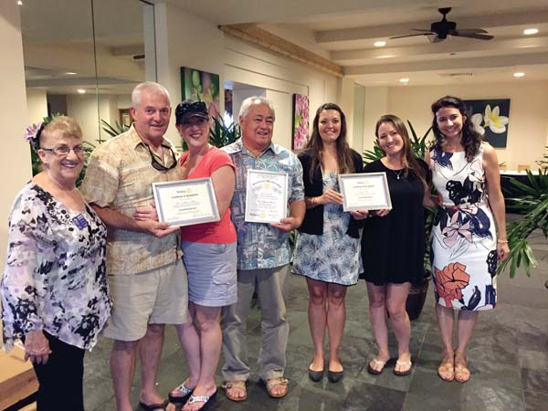 Shown at the awards ceremony are Joanne Laird (from left), Victor Terra, Maria Terra, George Kahumoku Jr., Gabrielle Schuerger, Megan Moseley and Heidi Dollinger.