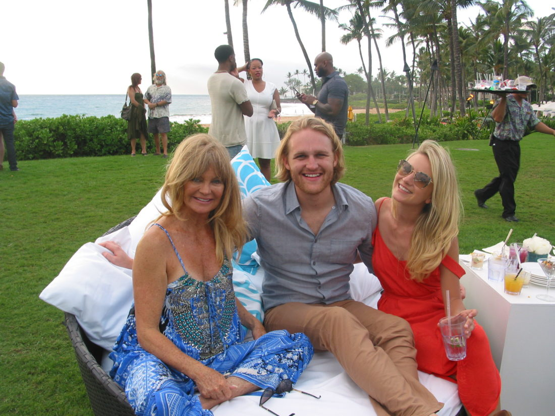 Last year, Maui Film Festival at Wailea's Taste of Summer, movie stars such as Goldie Hawn (left) with son Wyatt Russell and his actress girlfriend, Meredith Hagner. • The Maui News / CARLA TRACY photo