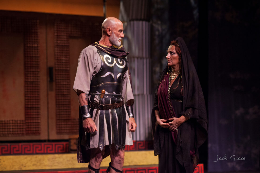 William Makozak (top photo from left) as Jason and Jennifer Rose as Madea show that Euripides classic tale of the scorned woman is still fresh after 24 centuries. (Below), the full cast of Madea, wearing masks, takes the stage. • Jack Grace photo
