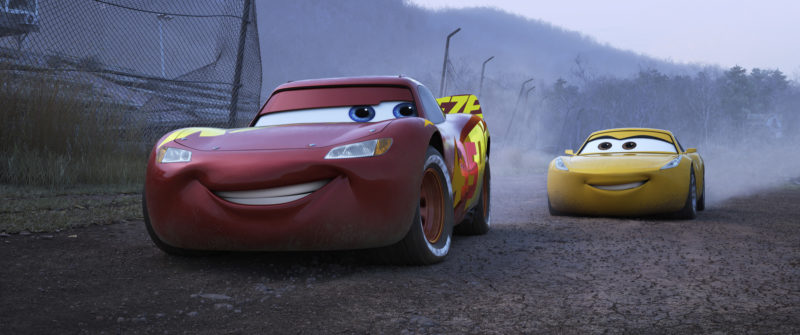 "This image released by Disney shows Lightning McQueen, voiced by Owen Wilson, left, and Cruz Ramirez, voices by Cristela Alonzo, in a scene from ""Cars 3."" (Disney-Pixar via AP)"