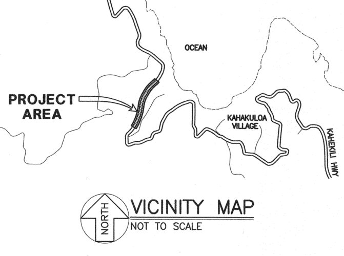 Work will begin on Kahekili Highway between Mileposts 15 and 16 in Kahakuloa on July 10.  •  Map via County of Maui