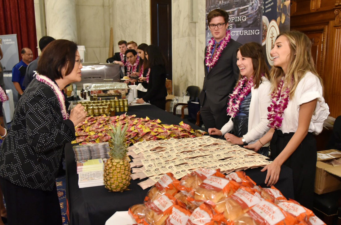 U.S. Sen. Mazie Hirono greets representatives of Hawaii-based businesses at the fourth annual Taste of Hawaii on Capitol Hill on Wednesday in Washington, D.C. • U.S. Sen. Mazie Hirono's office photo