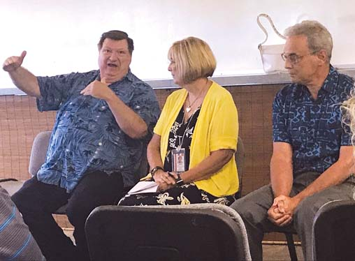 Maui Health System, the community hospitals affiliated with Kaiser Permanente, hosts a community meeting Friday afternoon at the Cameron Center to share its vision and hear public input. Speakers were Chief Nurse Executive Gary Kienbaum (from left), Assistant Administrator for Clinical Services Jackie Levy and Chief Medical Director Dr. David Ulin. On July 1, Maui Health System will take over operations at Maui County's three quasi-public hospitals, including Maui Memorial Medical Center. -- The Maui News / MELISSA TANJI photo