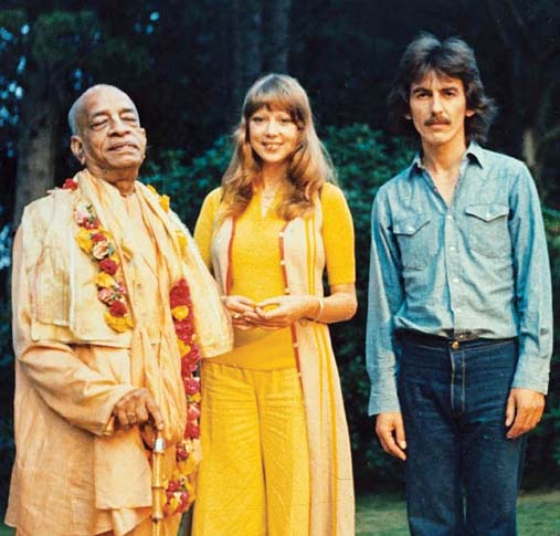 Swami Srila Prabhupada  (from left), with Pattie Boyd Harrison (the first wife of  Eric Clapton, not pictured) and George Harrison, the former Beatle. --  MFFW photo