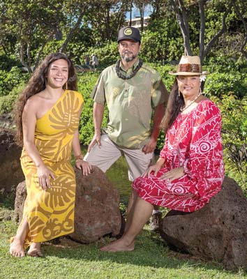 Maui Nei kumu Anuhea Yagi, Kalapana Kollars and Maile Keawe Bryan by Hahakea at Keka'a. -- J. Anthony Martinez photo