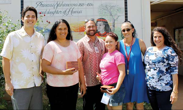 Duke's Beach House General Manager Noah Yamada (from left); Princess Nahienaena Elementary School teacher Pam Kaniho; Vice Principal Keola Rogat; counselor Alicia Alcaraz; teacher Linda Rickard; and TS Restaurants Vice President Tammy Fukagawa are shown at the awards ceremony.