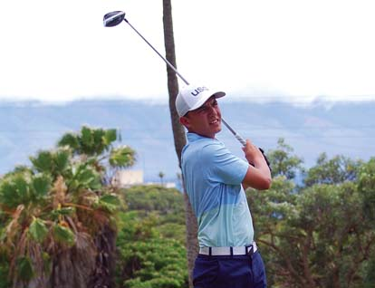 Alex Chiarella hit off the Royal Kaanapali Course's 12th tee Saturday during the first round of the Kaanapali Classic Pro-Pro. -- Kaanapali Golf Courses / MELISSA DUPUIS photo