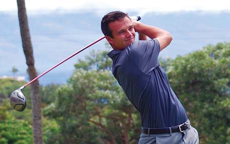 Alex Omer hit off the Royal Kaanapali Course's 12th tee Saturday during the first round of the Kaanapali Classic Pro-Pro. -- Kaanapali Golf Courses / MELISSA DUPUIS photo