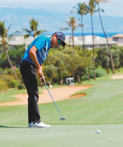 T.J. Kua putts on the Royal Kaanapali Course's 14th green Sunday during a win for him and Todd Rego in the Kaanapali Classic Pro-Pro Championship. Kaanapali Golf Courses / MELISSA DUPUIS photo