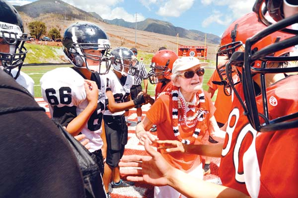 Sue Cooley, shown in 2010 before the first game at the stadium that would later bear her name, made seven donations totaling $7.5 million to the Lahainaluna High School Foundation. The Maui News / MATTHEW THAYER photo