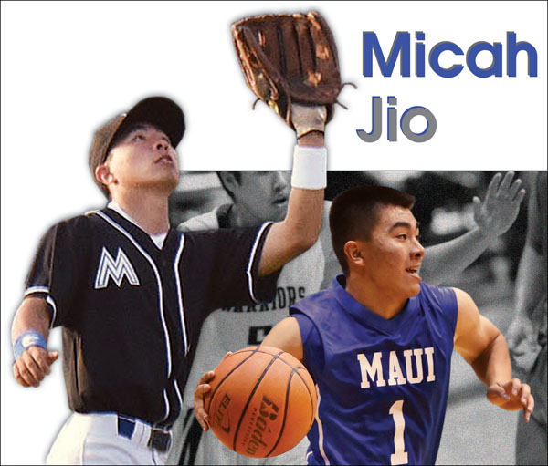 Micah Jio was the Maui Interscholastic League Division I Player of the Year in baseball and a first-team D-I basketball All-Star in his senior year at Maui High School. The Maui News / MATTHEW THAYER photos
