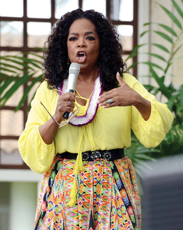"Part-time Maui resident Oprah Winfrey, who owns property in Kula and Hana, shared a few insights from her three-decade-plus career hosting daytime television. ""When I realized that I was being used by TV and not using television, I shifted the paradigm,"" she told the crowd Monday at the Maui Arts & Cultural Center's A&B Amphitheater. The Maui News MATTHEW THAYER photo"