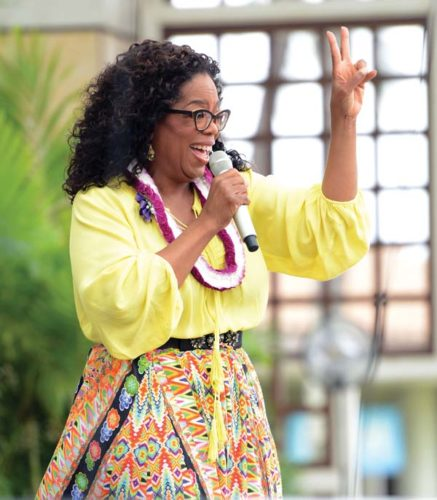 Oprah Winfrey shares her story with 5,000 fans Monday afternoon at the Maui Arts & Cultural Center's A&B Amphitheater. The Maui News MATTHEW THAYER photo