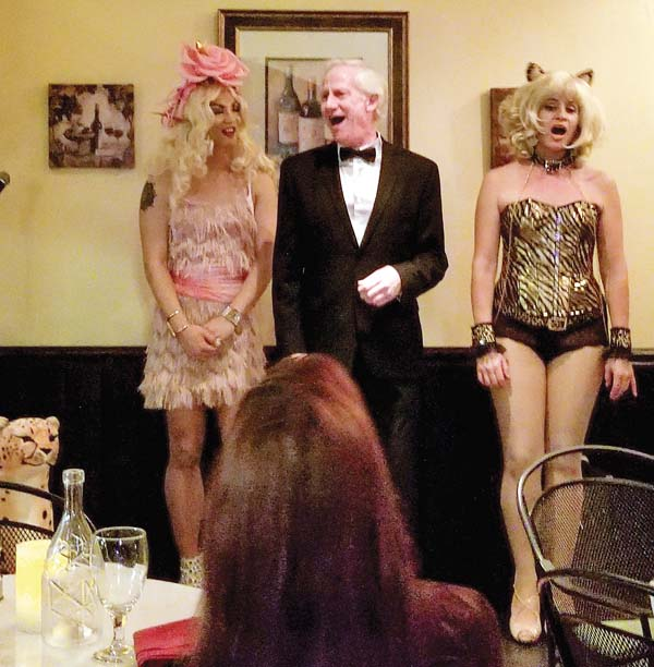 Diamond Di (Jayse Leong, from left), Dapper Dale (Dale Button) and Meow Meow L'Amour (Karen Stavish) delight the audience at Cafe del Vino Monday evenings in Maalaea. Jennifer Rose photo