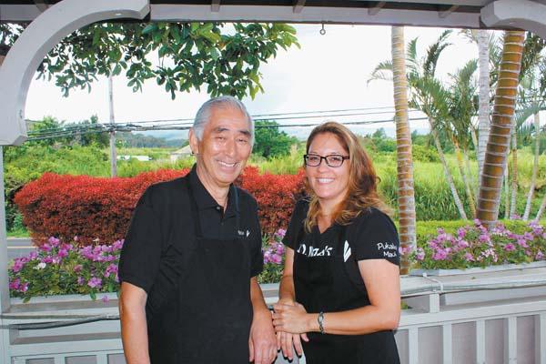 Master sushi chef Sadao Kojima and his daughter Amy Kojima take a break on the lanai of their Kojima's Sushi and Japanese Cuisine restaurant in the Pukalani Square. The Maui News / CARLA TRACY photo