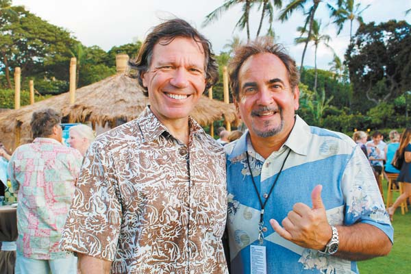 A couple of well-known  hoteliers enjoy the Taste of Summer at Grand Wailea last week. Chris Luedi (left) and Mike Jokovich are regional vice presidents for Fairmont and Andaz, respectively. The Maui News / Carla Tracy photo