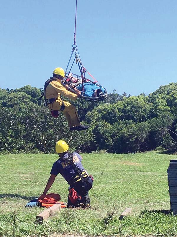 A California visitor who injured his ankle on a trail in the Kipahulu District of Haleakala National Park was airlifted from the trail to a landing zone at the trailhead near Hana Highway on Wednesday. Maui Fire Department photo